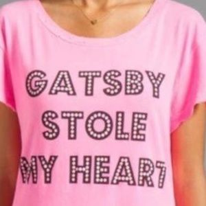 "Wildfox Tops - Wildfox ""Gatsby Stole My Heart"" Distressed T-Shirt"